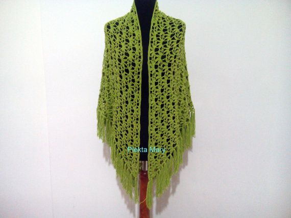 Green crochet shawltriangular shawl summer by CrochetMaryGR