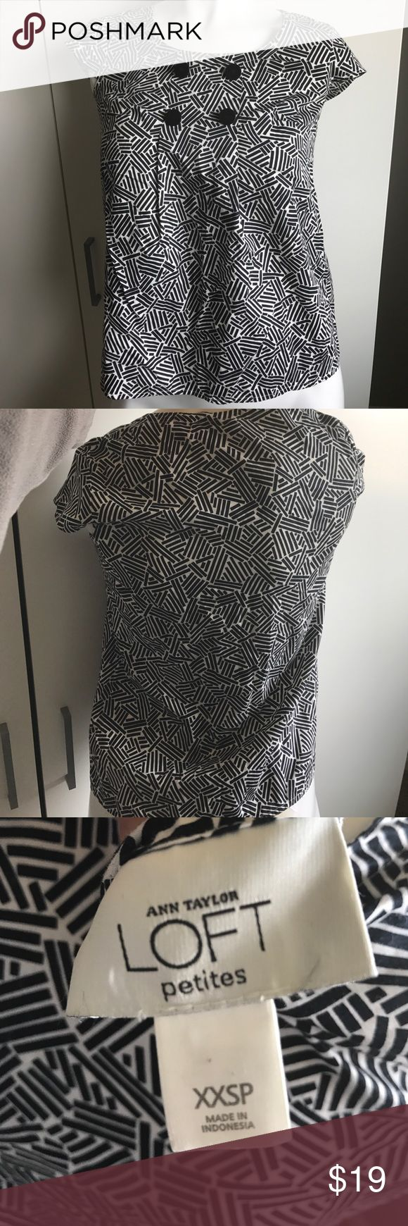 """Ann Taylor Loft Petite XXS black white blouse top Ann Taylor Loft XXS Petite black and white patterned blouse top. 4 decorative black buttons with scoop neck and cap sleeves. EUC  ALL ITEMS COME FROM A SMOKE FREE HOME.  Measurements: Shoulder to shoulder 13"""" Shoulder to hem 22""""   Materials:  100% cotton  Bid with confidence as we have a perfect 100% feedback rating (on other online sites) dating back to 1999. All questions will be answered within an eight hour timeframe. Your item will…"""