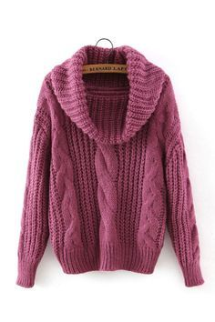 Purple High Neck Cable Knit Sweater