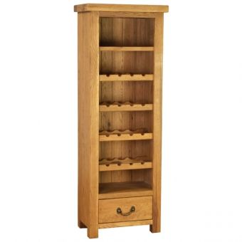 Plank oak tall unit with 1 drawer and wine rack