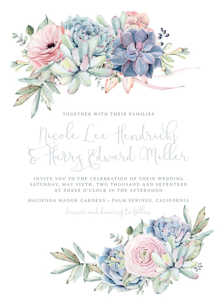 Sweet Succulents Wedding Invitation in Agate