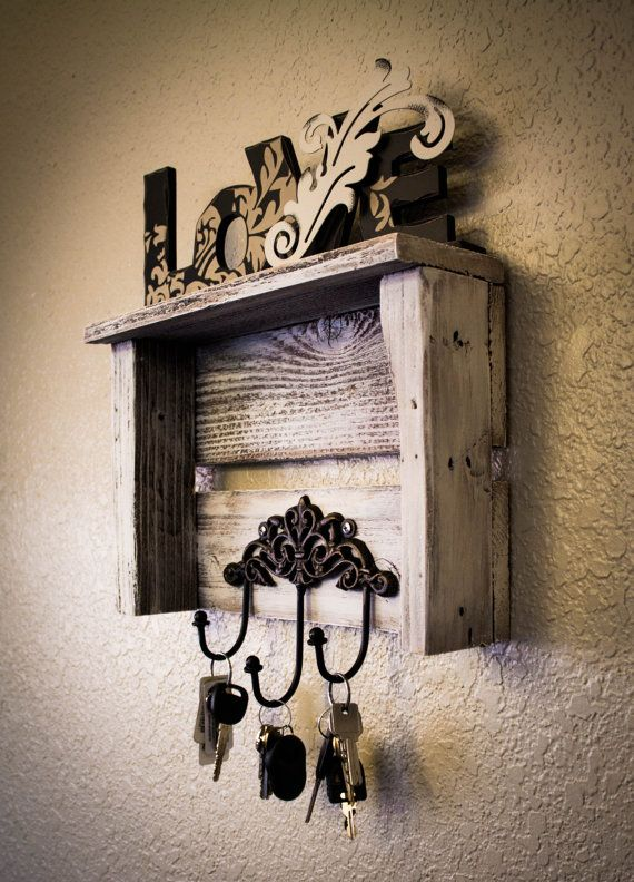 Key Hooks Shelf (Shabby Chic Style) Made From Reclaimed Wood