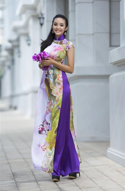 Ao dai -  Purple & white