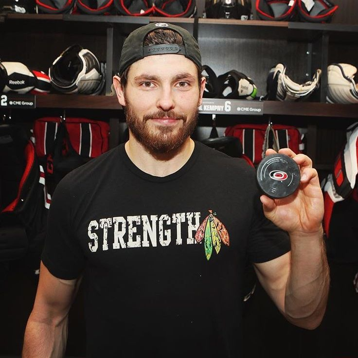 Kempny with the puck from his first NHL goal