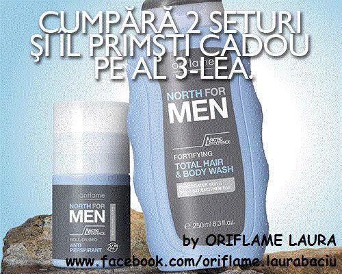 Cumperi 2 seturi Nort for Men (Şampon şi gel de duş fortifiant si Deodorant roll-on antiperspirant North For Men) - COD 711668 şi îl primeşti pe al 3-lea CADOU!