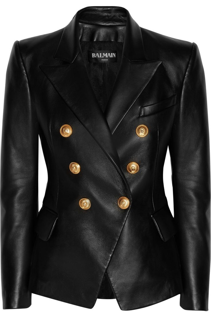Balmain | Double-breasted leather blazer | NET-A-PORTER.COM