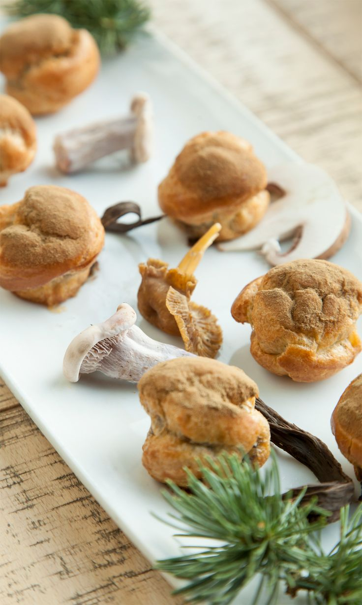 Bruno Loubet's mushroom choux bun recipe offers a seasonal burst of flavour, with a rich cheesy mushroom filling delicately encased by warm choux pastry and dusted with cep powder for a powerful umami flavour.