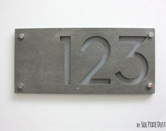 Moderne huisnummers, rechthoek beton met grijze acryl - Contemporary Home adres - teken Plaque - deur nummer