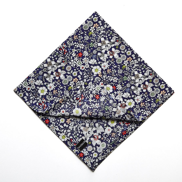 Pomp & Ceremony Pocket Square handkerchief Liberty of London June's Meadow navy. $24.00, via Etsy.