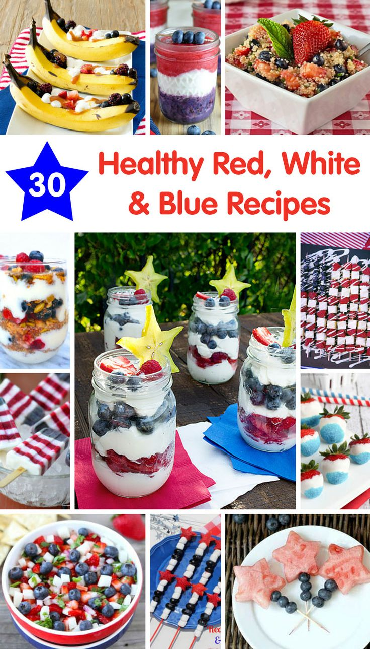 30 Healthy Red, White and Blue Recipes - great ideas for your Memorial Day or Fourth of July celebration! @produceforkids