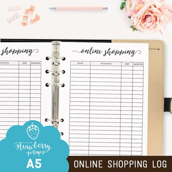 """Online shopping planner: """"ONLINE SHOPPING LOG"""" Printable planner inserts A5 