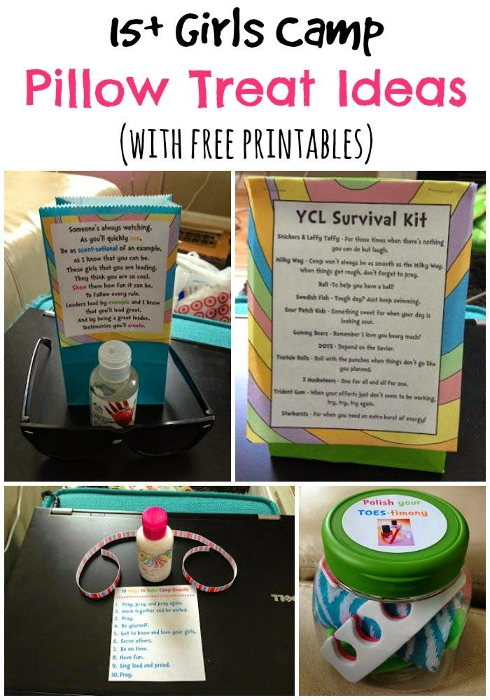 15+ girls (or YW) camp pillow treat ideas with free printables from playpartypin.com