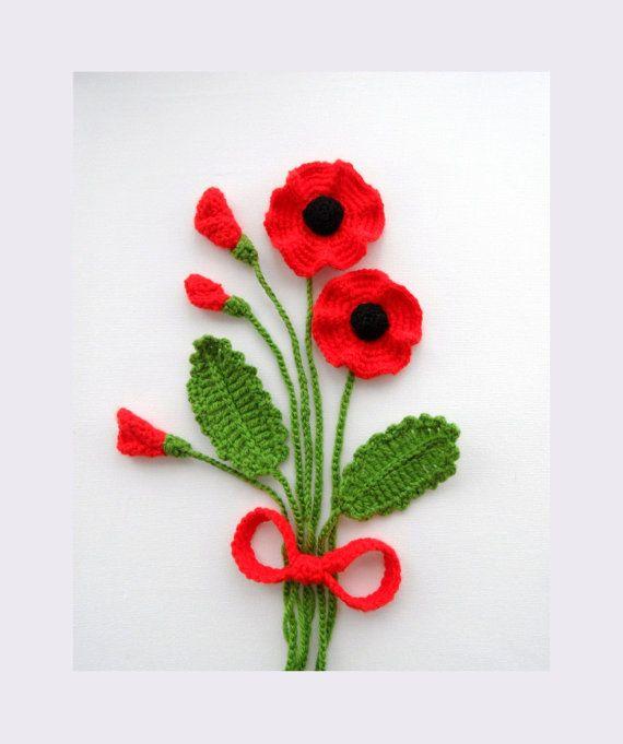 Crochet apliques Poppy flores y hojas Set por CraftsbySigita