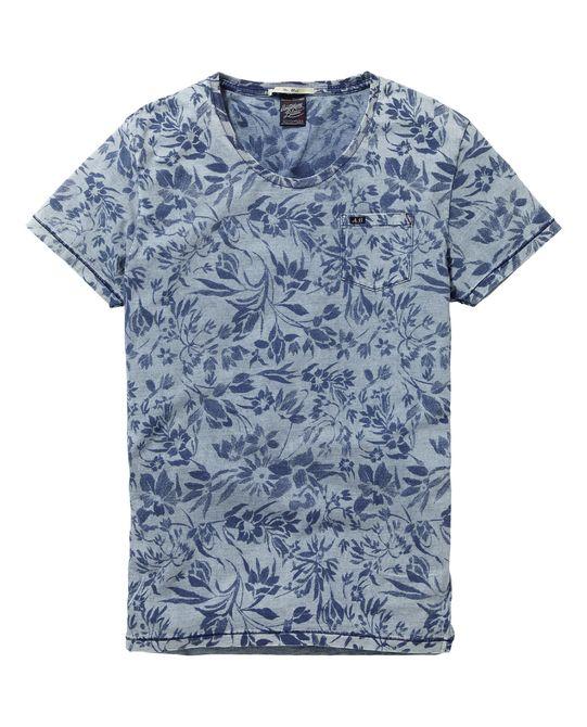 Camiseta con estampado índigo | Camiseta de manga corta | Ropa para hombre en Scotch & Soda