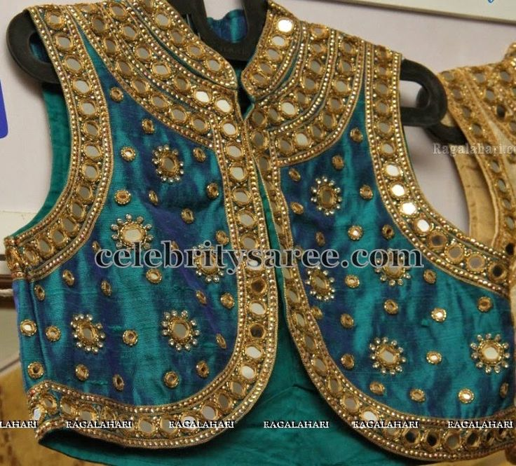 High Neck Mirror Work Blouses