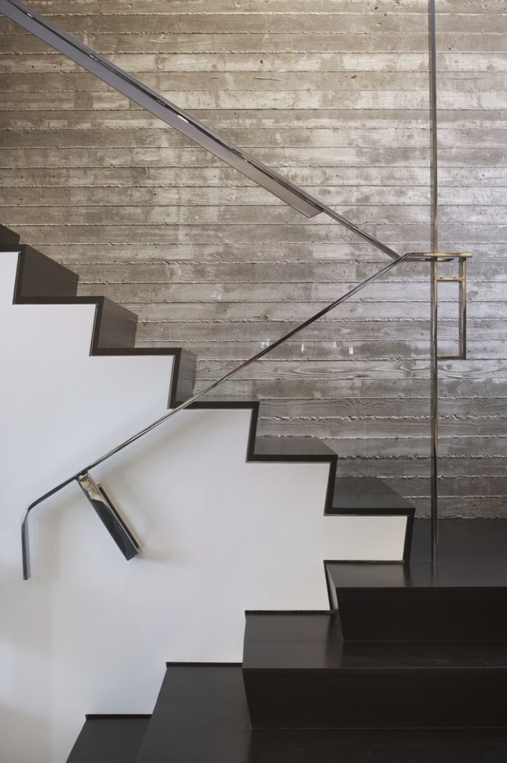 Mixed Use Townhouse by Dennis Gibbens Architects. Beautiful! - love the troweled concrete wall and the simple stringer detail!