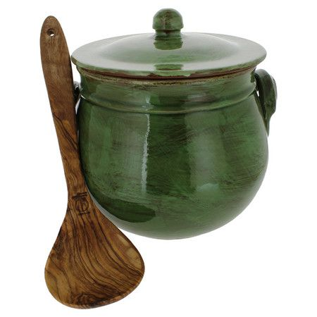 Add rustic appeal to your cookware collection with this stoneware stockpot, complete with an olive wood ladle for Tuscan-inspired style.