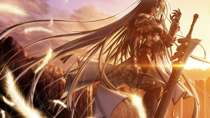 Fantasy Art Red Eyes Sword Fantasy Girl Armor Anime Girls