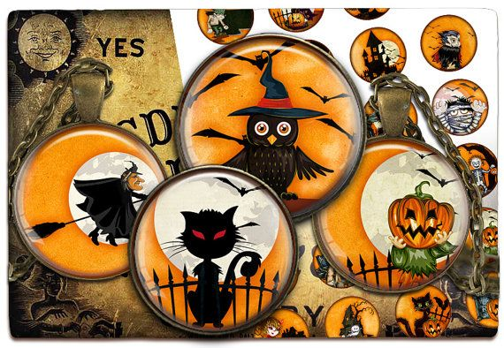 Digital Collage Sheet  Halloween  Cabochon images by PrintCollage