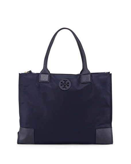TORY BURCH Ella Packable Nylon Tote Bag, Tory Navy. #toryburch #bags #leather #hand bags #nylon #tote #lining #