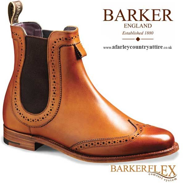 Barker Ladies Boots - Sabrina - Cedar Calf (Brown) Chelsea Brogue  - Available at http://www.afarleycountryattire.co.uk/product-category/ladieswear/barker-shoes-ladies-collection/ #barkershoes #ladiesshoes #ladiesfashion #afarleycountryattire