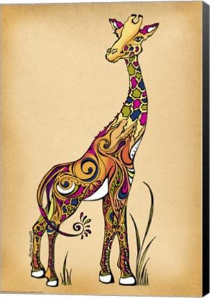 Giraffe Animal Canvas Wall Art Print by Green Girl Canvas