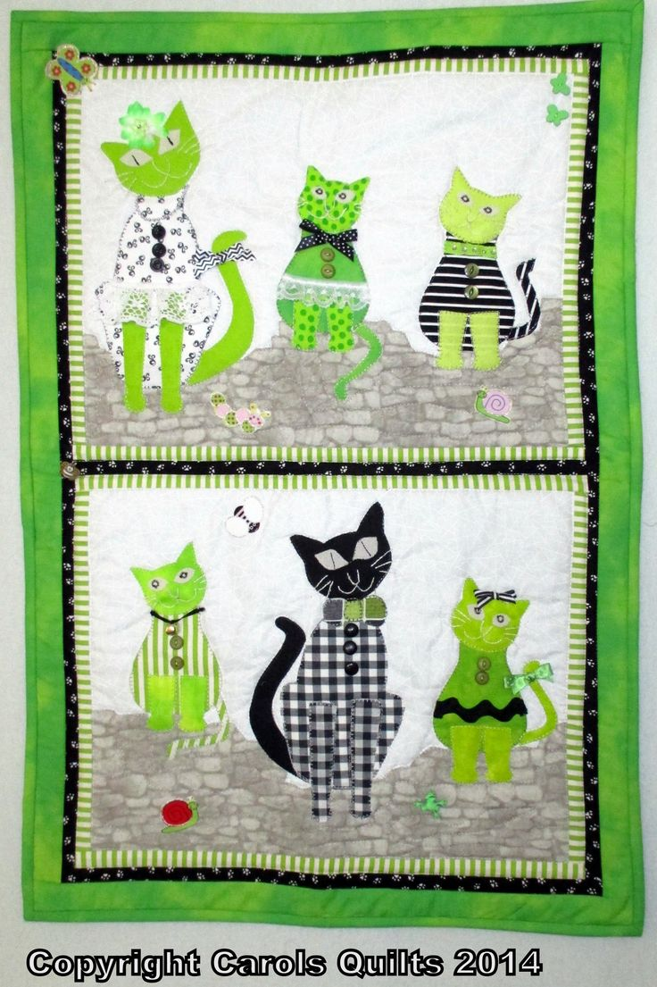 A variation on the free pattern with Carol's Quilt's Cat template
