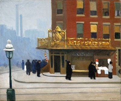 """Edward Hopper's simply titled """"Corner Saloon,"""" from 1913, depicts the kind of regular city bar on an ordinary street corner that makes it almost impossible to figure out exactly where it was located.Corner Corner, Street Corner, Corner 1913, York Street, Art, York Corner, Corner Saloon, New York, Edward Hopper"""