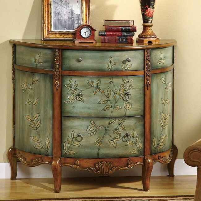 Antique Accent Cabinet W Floral Accents Coaster Furniture In Accent Chests And Cabinets Finishe Coaster Furniture Painted Furniture Painting Wooden Furniture
