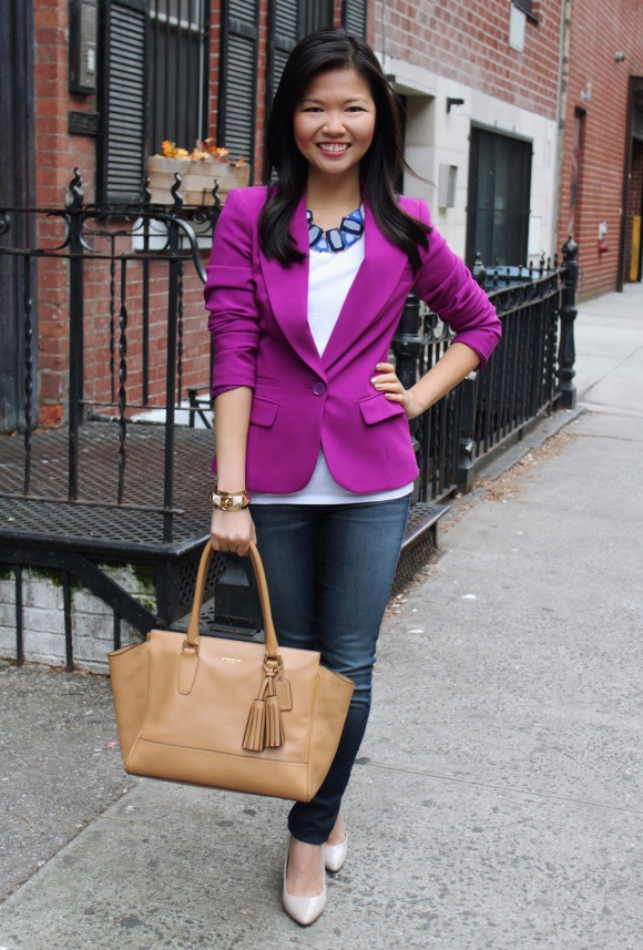Jenny in Jacquard | Forever 21 purple blazer; H white v-neck t-shirt; J Brand 811 skinny jeans; Coach Candace carryall tote in camel; Crown and Glitter blue statement necklace; Juicy Couture gold pave pyramid stud cuff; Pour la Victoire Mai wedge