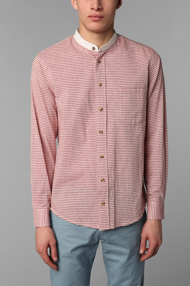 Keep- -thin red stripe -button color Add -ivory collar and cuff -ivory buttons -blue stripes