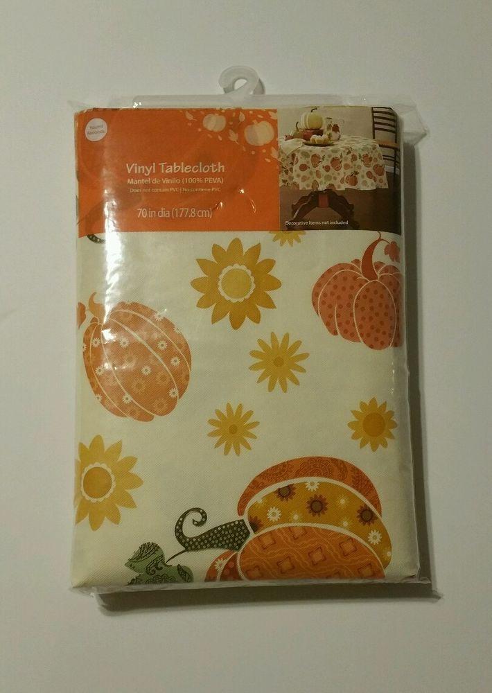 Vinyl Tablecloth Round 70 inch Diameter Orange Whimsical Pumpkins 100% Peva #Generic