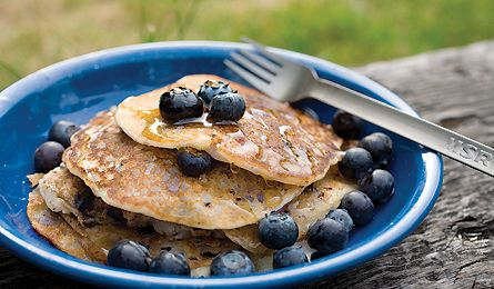 Recipe: Blueberry-Hazelnut Rice Flour Pancakes From Backpacker.com This gluten-free variation on the traditional recipe serves up superlight cakes. See the recipe online- http://www.backpacker.com/september-09-recipe-blueberry-hazelnut-rice-flour-pancakes/articles/13275