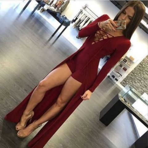 Go in my wardrobe  High Slit V-Neck Bodycon Jumpsuit  Dress for Less