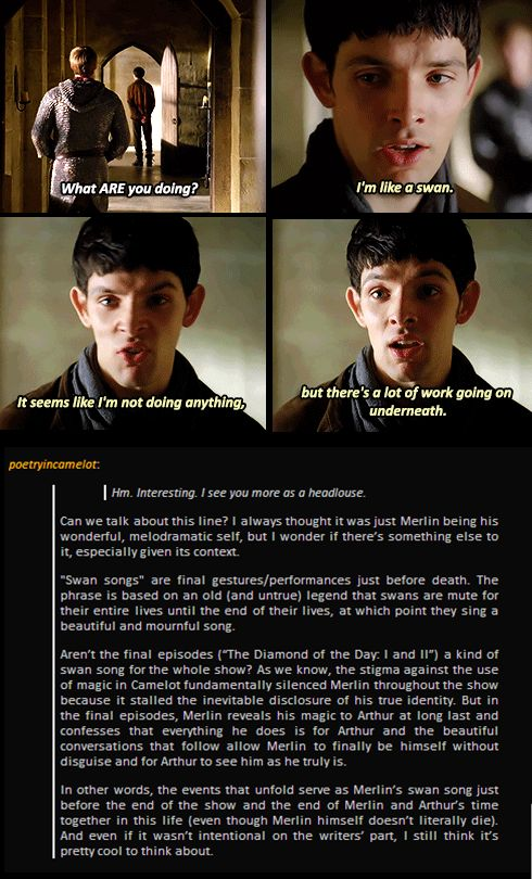 Only in the Merlin fandom can we take a line that's meant to be funny and extract a deep and sorrowful meaning out of it.