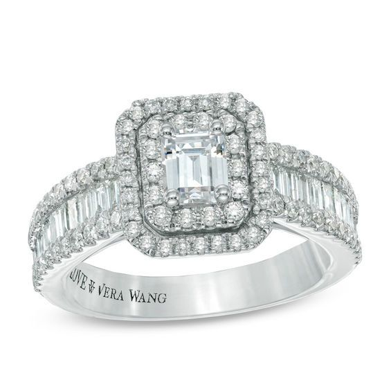 Vera Wang Love Collection 1-1/2 CT. T.W. Emerald-Cut Diamond Double Frame Engagement Ring in 14K White Gold