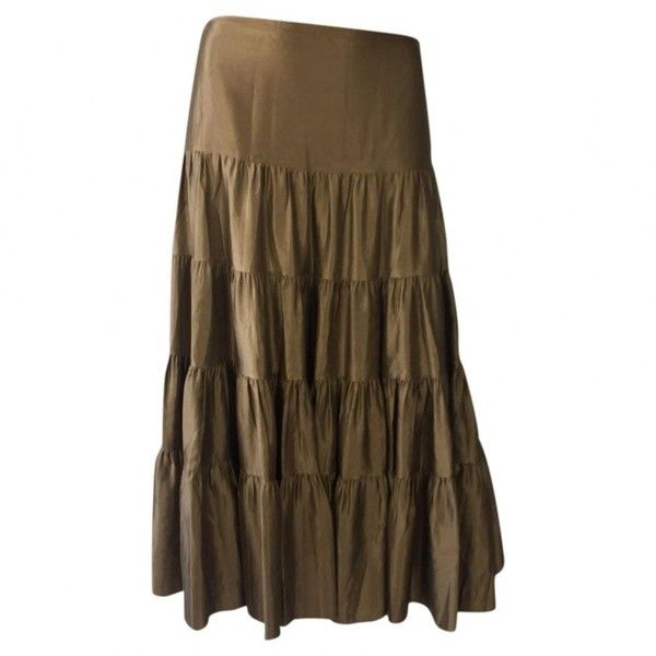 Pre-owned Joseph Maxi Skirt ($94) ❤ liked on Polyvore featuring skirts, gold, brown maxi skirt, long brown skirt, maxi skirts, brown skirt and floor length skirt