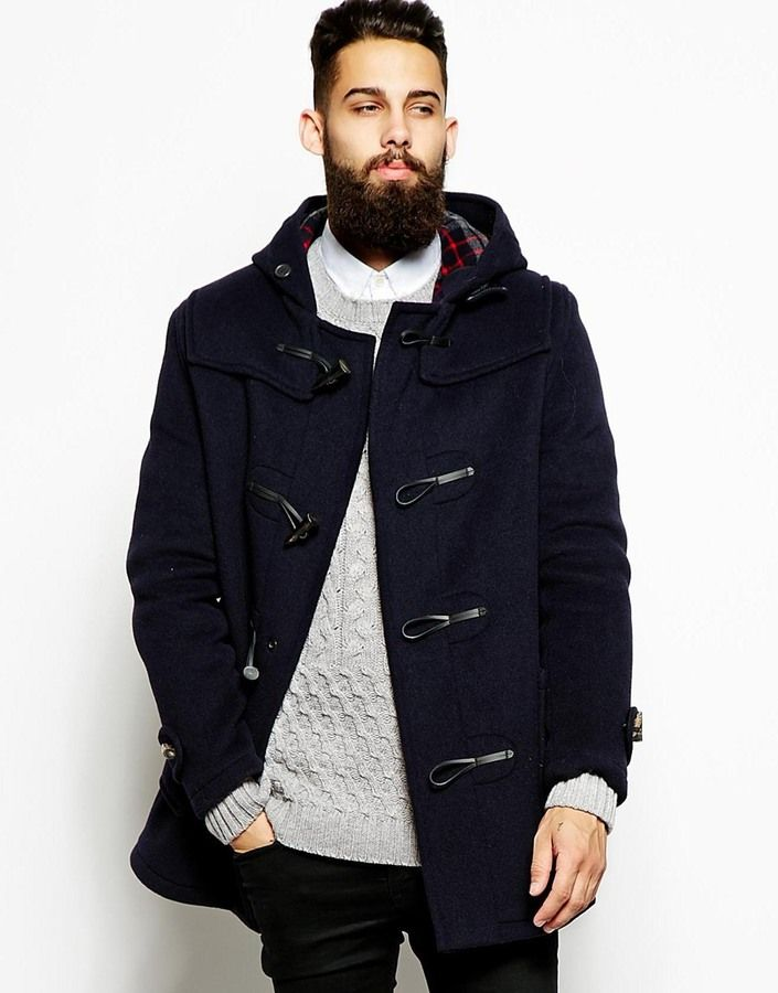$303, Navy Duffle Coat: Gloverall Duffle Coat With Check Hood. Sold by Asos. Click for more info: https://lookastic.com/men/shop_items/155806/redirect