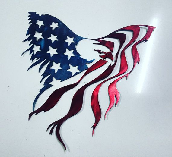 American flag eagle painted with Kandy apple red and Kandy blue. 16 wide x 15 tall. Made from high quality aluminum to resist rusting. There is also cheaper options available that are not painted.