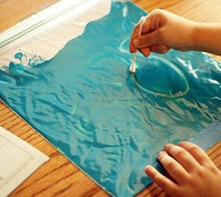 From Teachers Pet, paint in a zip lock bag and a cotton bud - helps children with letter formation