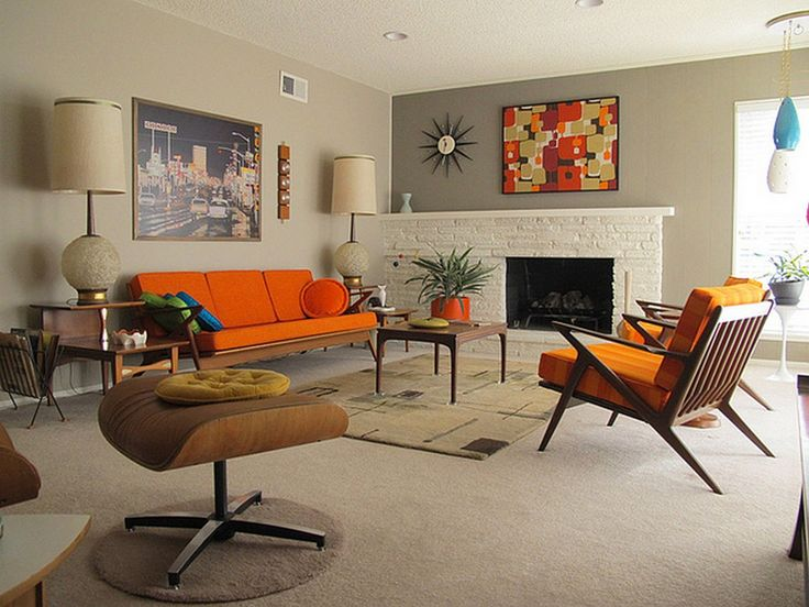 Fire Place Wall Color Accent. Cool 99 Mid Century Modern Living Room  Interior Design
