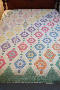 "Vintage Grandmother's Flower Garden Antique Quilt w/Feedsack Fabrics 71"" x 84"""