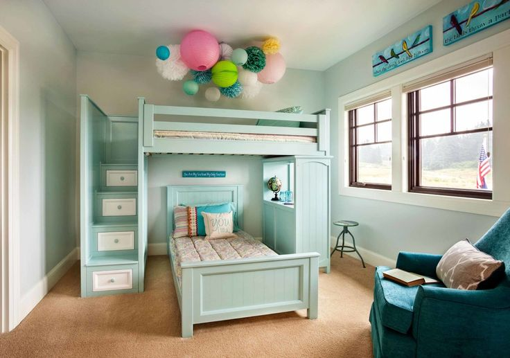 How cool and versatile is this? Twin loft bed with stairs and student desk on the side. The additional bed on the bottom is perfect for stay overs. Custom built by http://kidsonlyfurniture.com