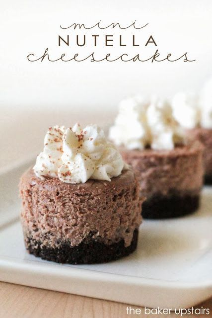 Mini nutella cheesecakes from The Baker Upstairs. Rich, delicious, and silky smooth, these cheesecakes make a beautiful and elegant dessert for any special occasion! www.thebakerupstairs.com
