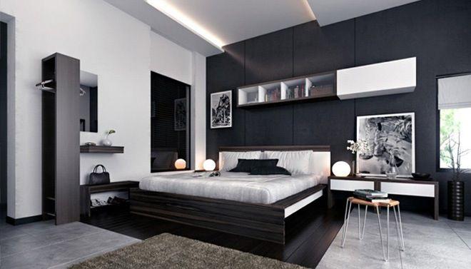 Woonkamer zwart wit grijs eiken houten met metaal nachtkastje wit
