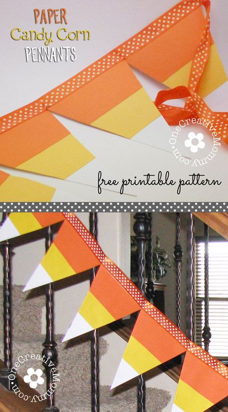 candy corn pennant tutorial with free pattern from onecreativemommycom easy halloween decor