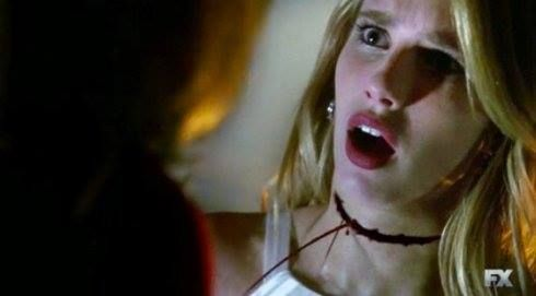 Emma Roberts as Madison, as her throat is slit by Fiona (Jessica Lange). Coven.