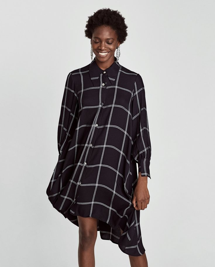 Image 2 of CHECKED SHIRT DRESS from Zara