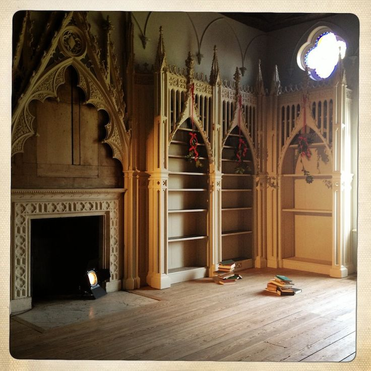 Strawberry Hill House library. Gothic estate in christmas style.