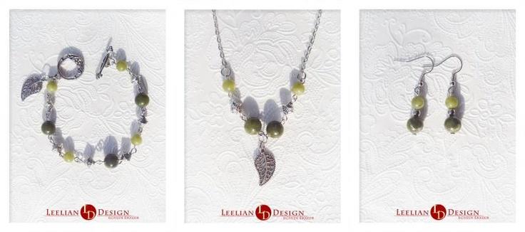 Serpentine bracelet, necklace and earrings.  Szerpentin karkötő, nyaklánc és fülbevaló.